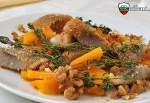 Пържена риба с орехов сос